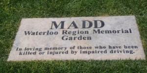 MADD Waterloo Region Memorial Garden plaque
