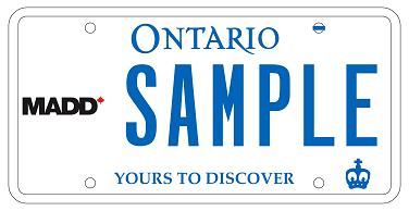 MADD Ontario Licence Plate