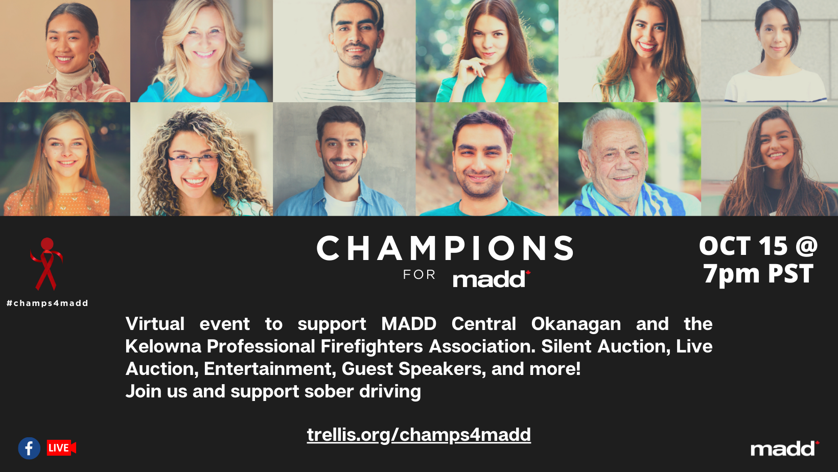 Champions for MADD Fundraiser- Oct 15th at 7PM. Trellis.org/champs4madd