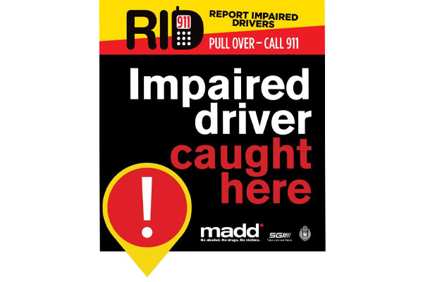 RID (Report Impaired Drivers) Sign: Pull Over, Call 911. Impaired Driver Caught Here!