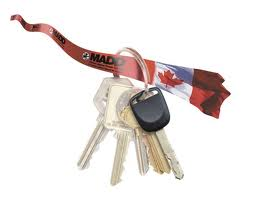 MADD Canada red ribbon and keys