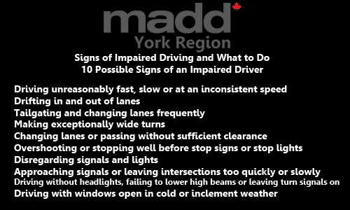 10 possible signs of an impaired driver